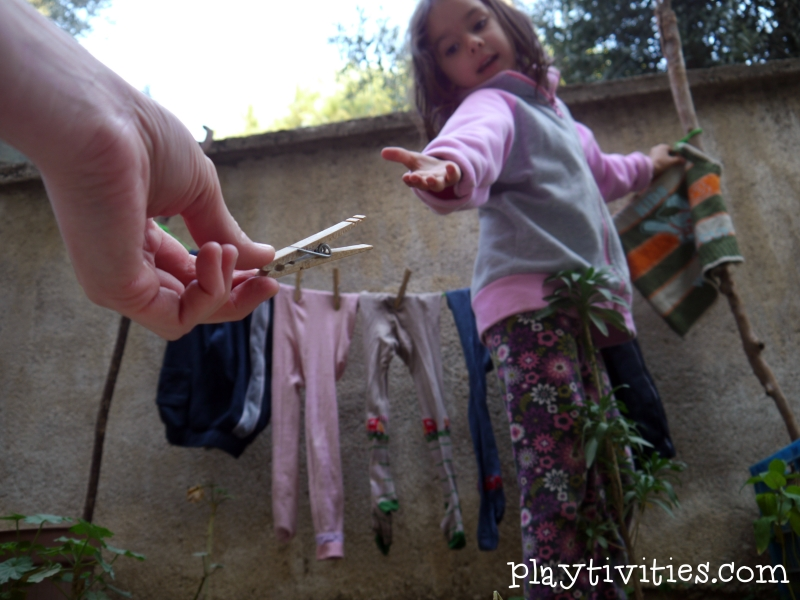 hanging clothes activity