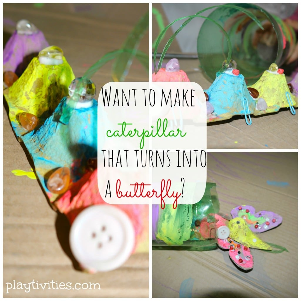 Egg carton caterpillar that turns into a butterfly