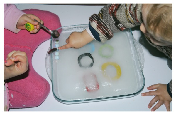 ice play with marbles
