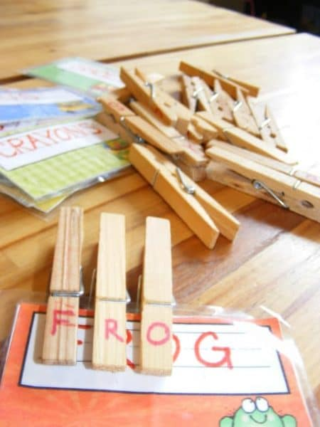 spelling activity with clothpins