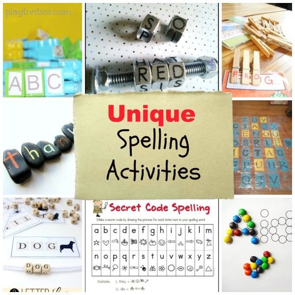 spelling activities collage