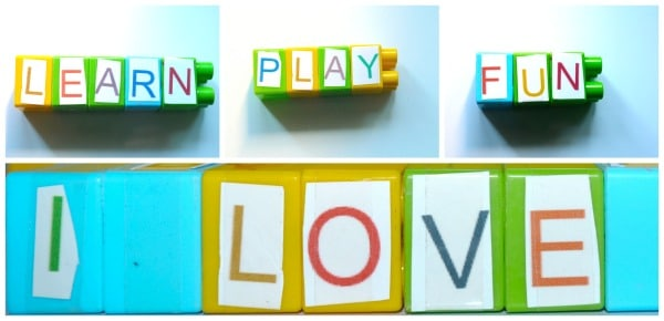 spelling activity with blocks