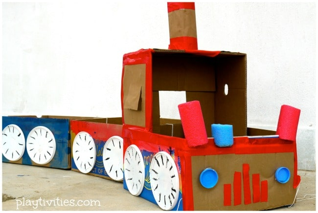 cardboard box train toy