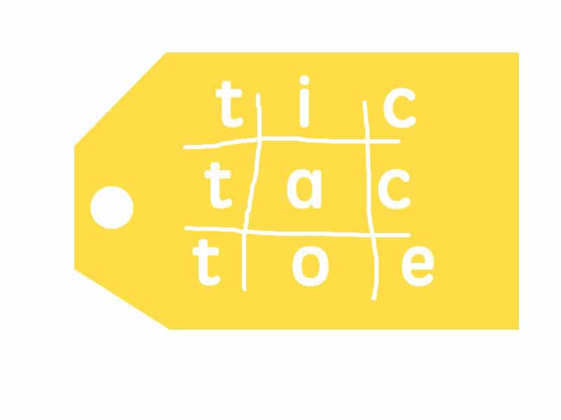 tic tac toe gift set tag