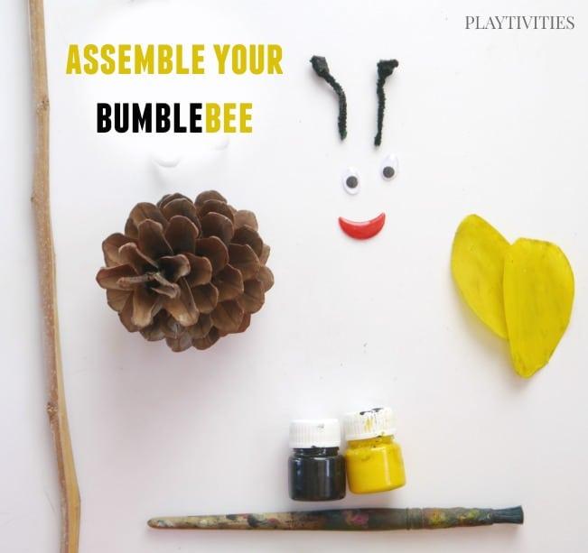 pinecone craft bubmblebee