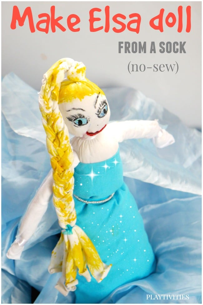 make elsa doll from a sock