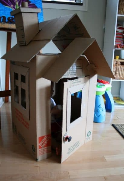 how to make a small cardboard box house