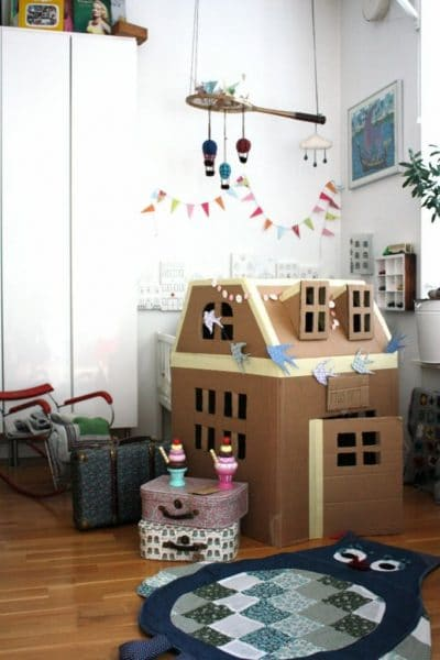 Making model house out cardboard