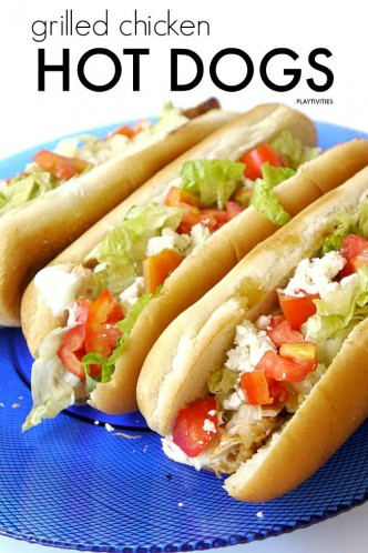 grilled chicken hot dogs