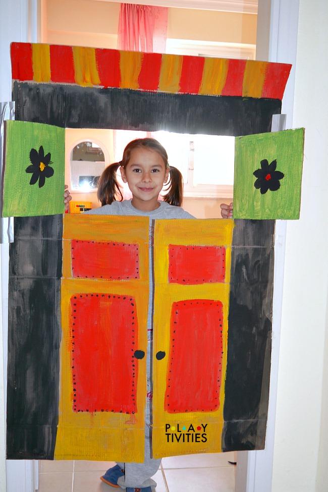 diy cardboard puppet theater