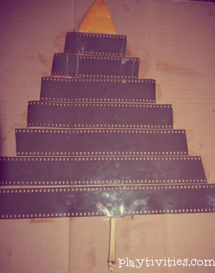 christmas tree craft with film decoration