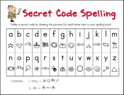 secret code spelling activity