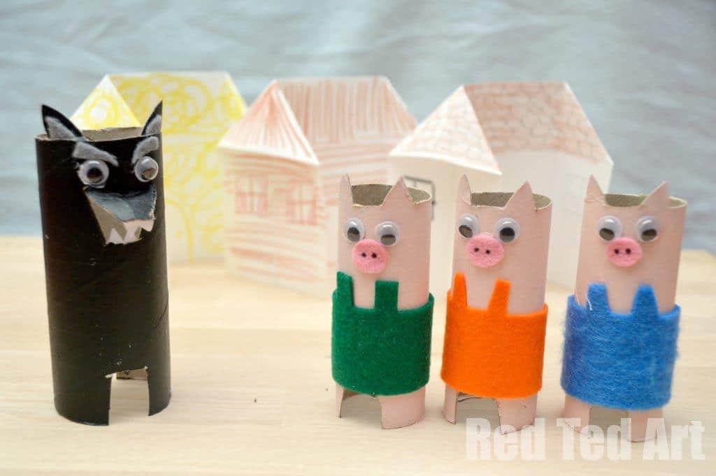 three little pigs toilet paper craft