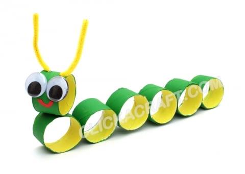 caterpillar craft using toilet paper rolls