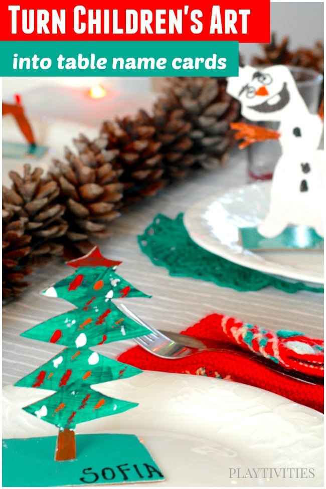 Turn Holiday crafts for kids into table name cards - PLAYTIVITIES