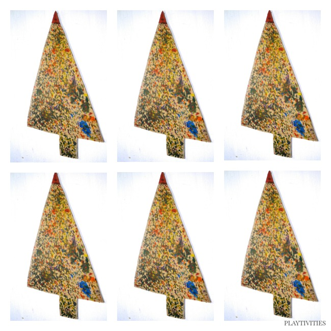 christmas tree craft with fingers