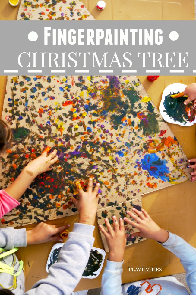 fingerpainting christmas tree