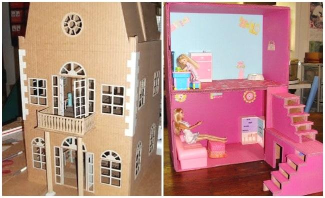 2 cardboard dollhouses