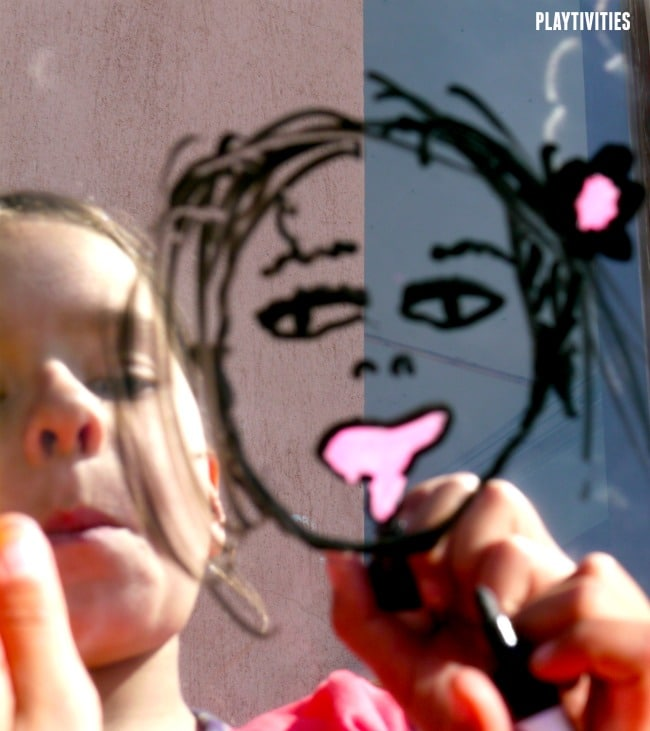 face drawing on mirror