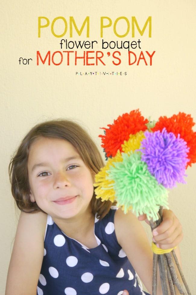 pom pom flowers for mother's day