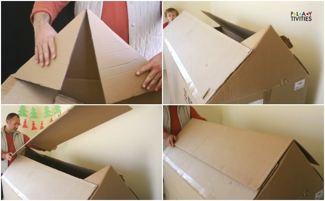 How to build the most simple cardboard house playtivities for How to make a letterbox out of cardboard