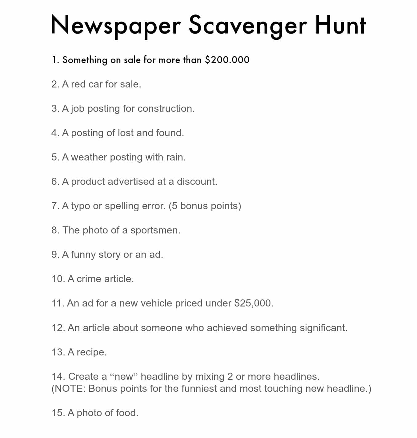 Scavenger Hunt List >> Newspaper Scavenger Hunt Game Perfect For Lazy Family