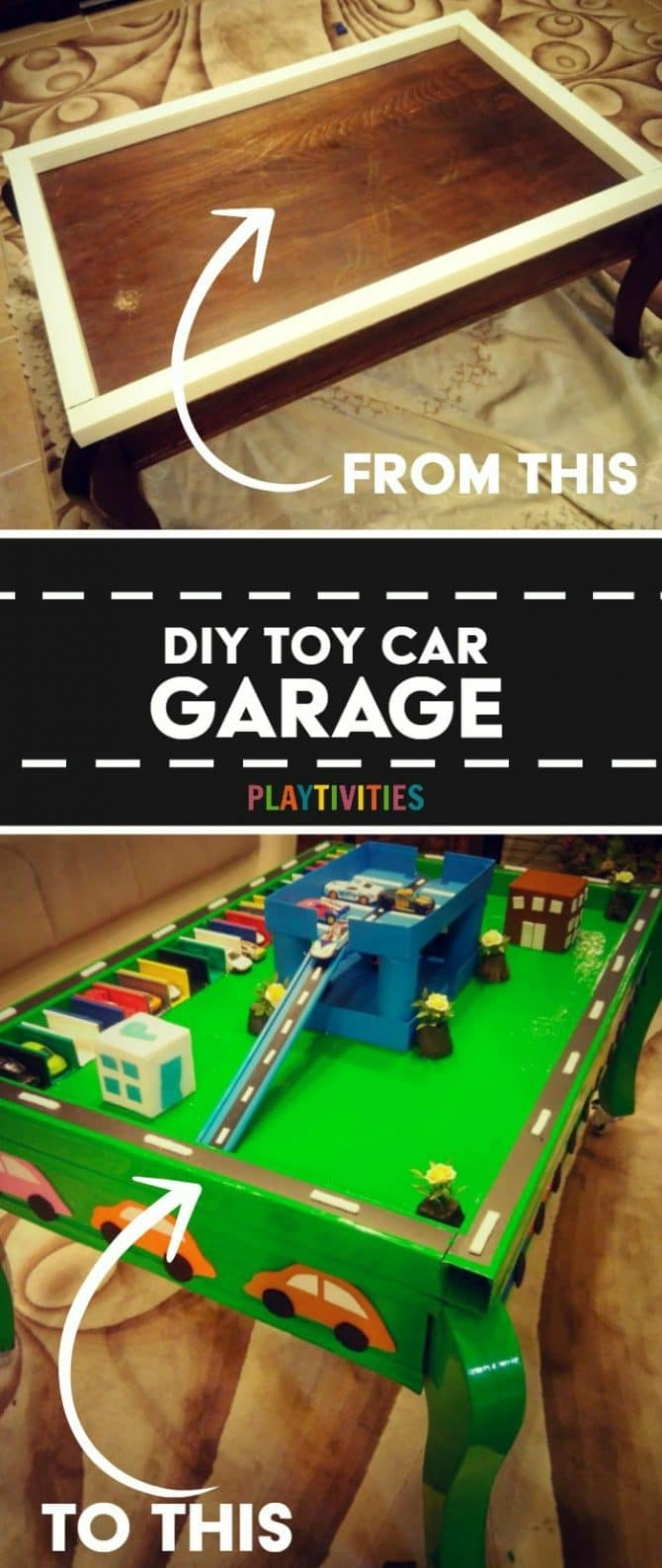 Diy toy car garage table that cost almost nothing to make for Diy garage cost