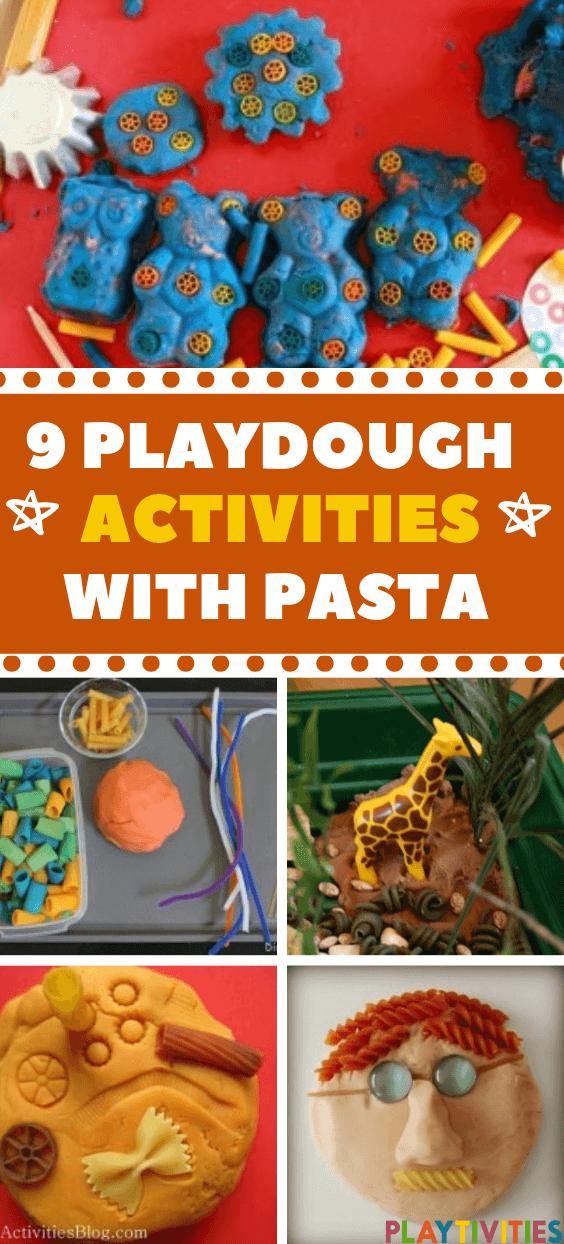 9 playdough activties with pasta