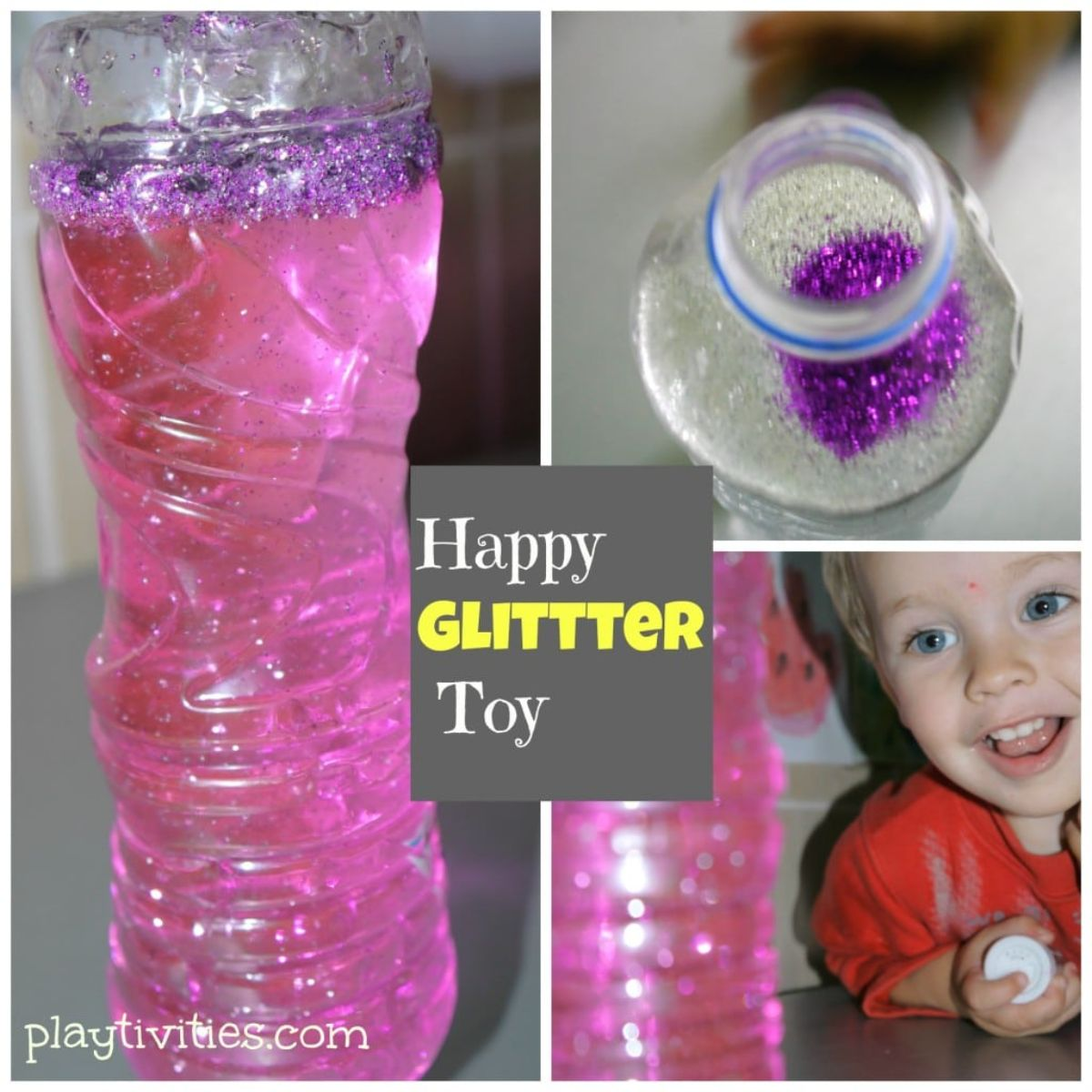 3 pictures of a plastic water bottle filled with pink glittery water. In the bottom image a child is smiling at the bottle