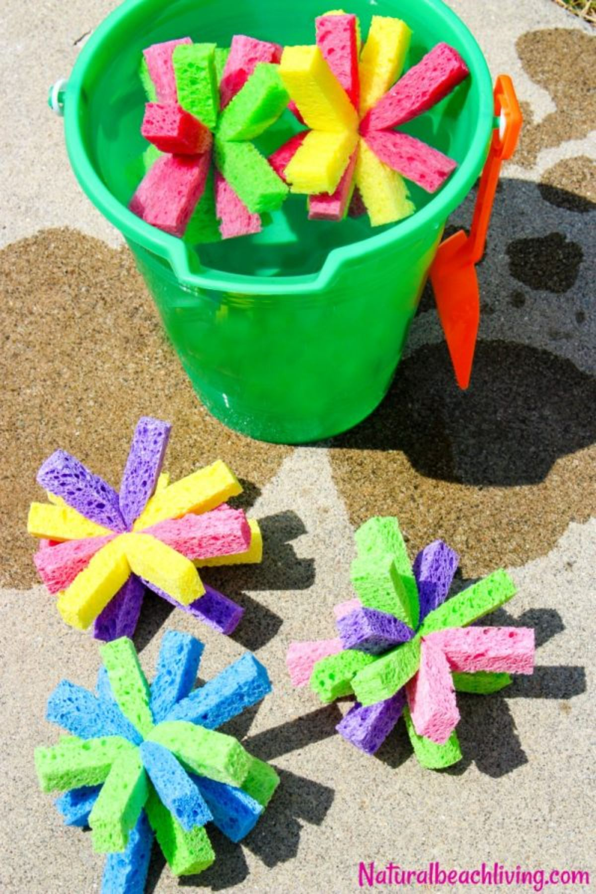 """The text reads """"naturalbeachliving.com"""" The image is of a green buscket full of water with star-shaped sponges floating in the top. 3 sponges are in front of the bucket."""