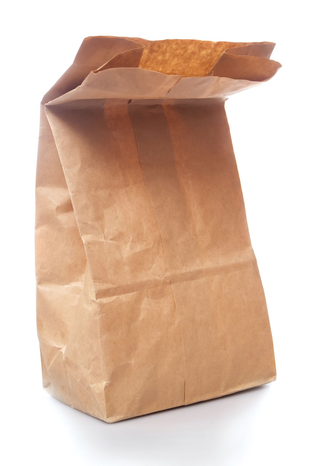 on a white background is a brown paper bag with the top folded over
