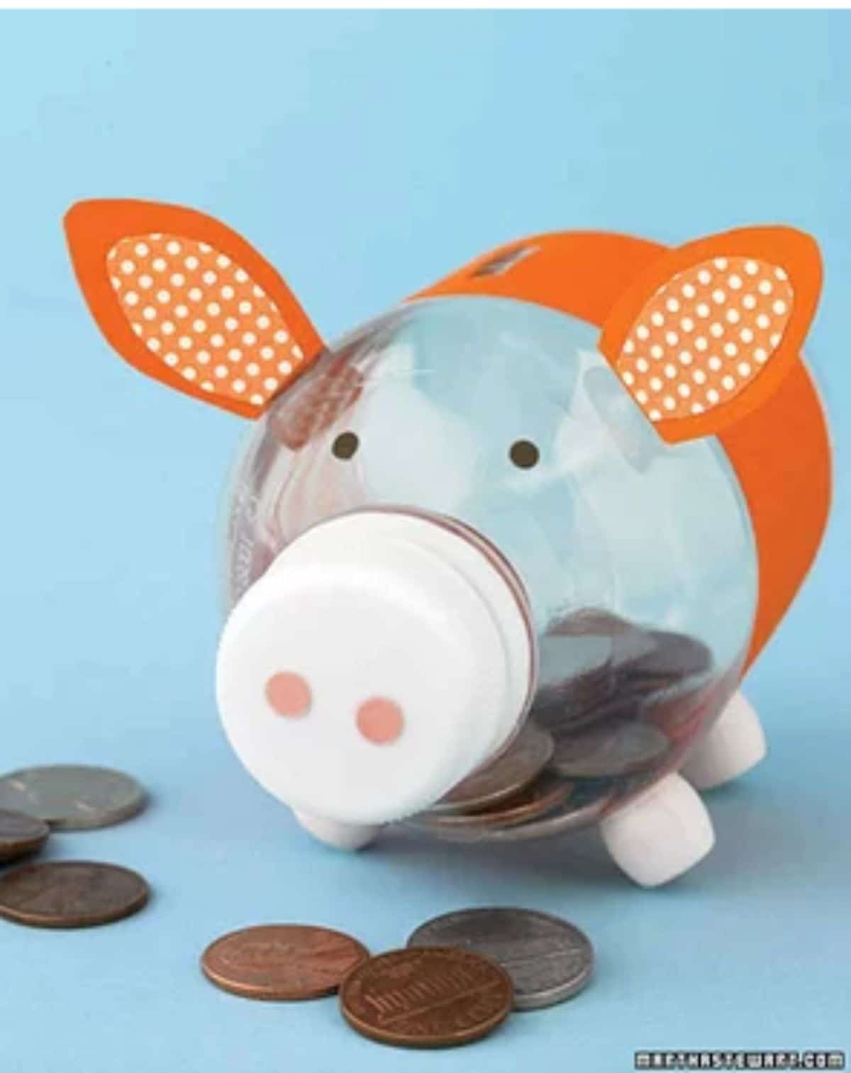 a water bottle decorated with card and stickers to look like a pig. Money is inside the bottle and scattered in front of it