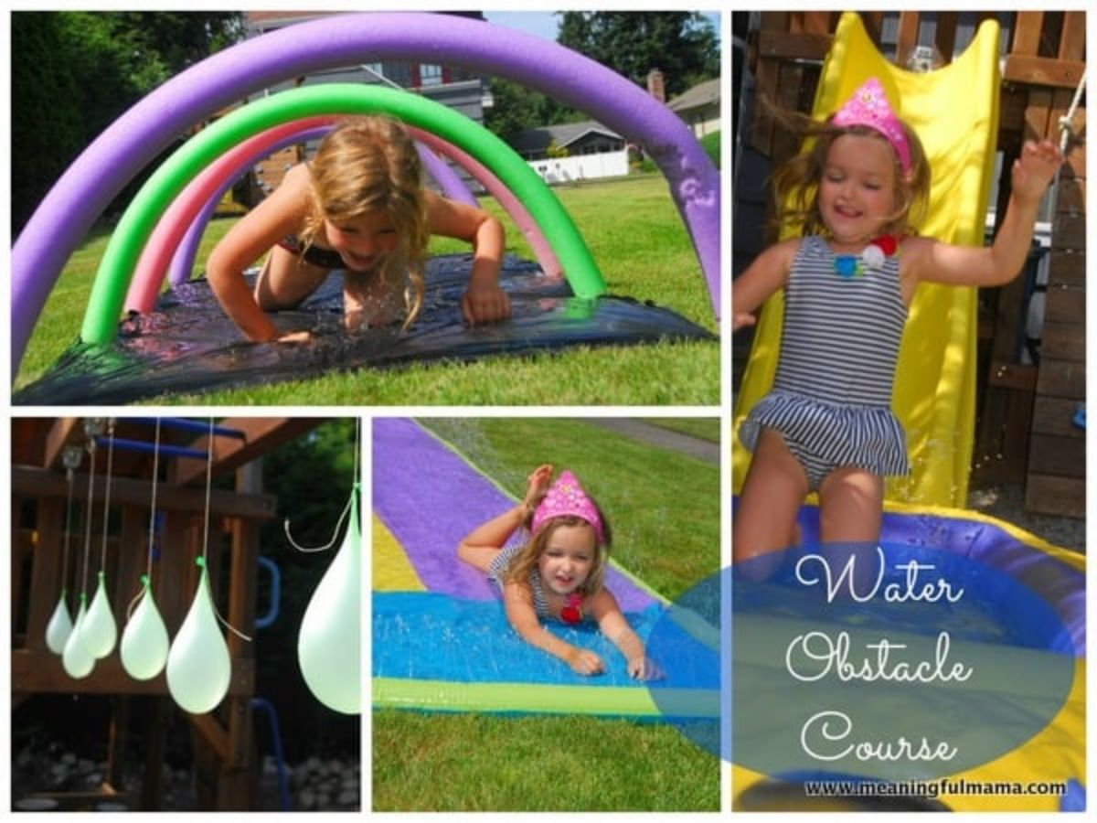 """the text reads """"Water Obstacle Course"""" There are 4 images of elements of an obstacle course. One child crawls through hoops made of pool noodles. Water balloons hang from monkey bars. A younger child plays on a slip and slide. A girl in swimwear slides down a yellow slide"""
