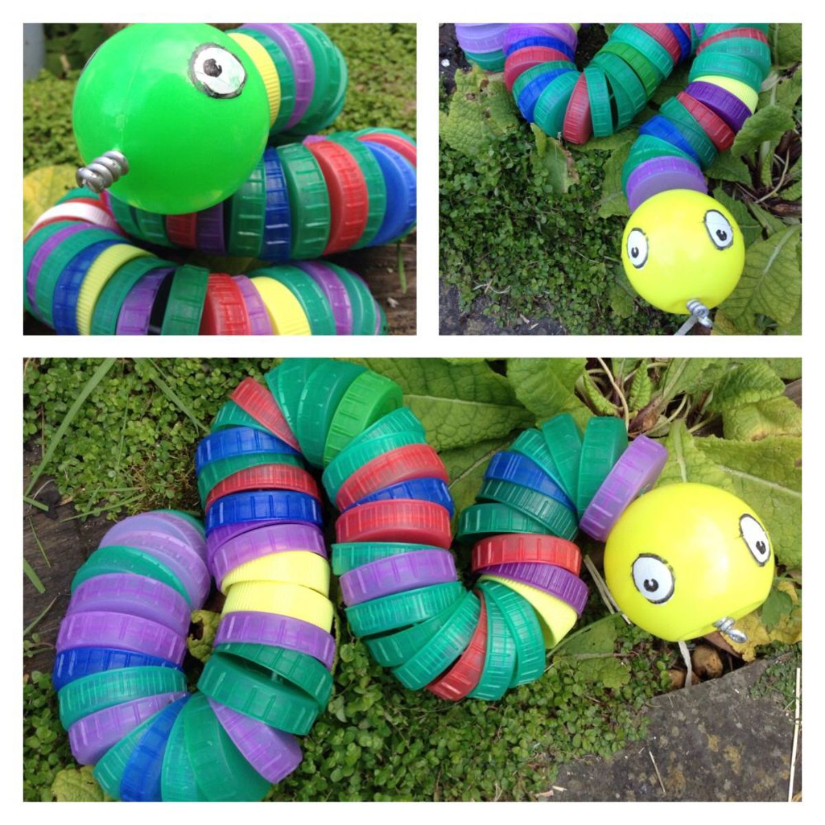 3 photos of a snake made of colored bottle tops strung together with a ping pong ball in the front