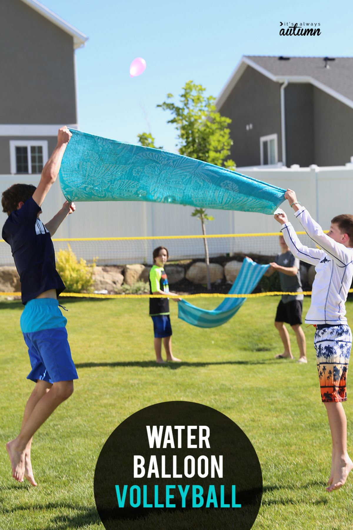 """the text reads """"Water balloon volleyball"""" The image is 2 pairs of children holding towels up in the air between them"""