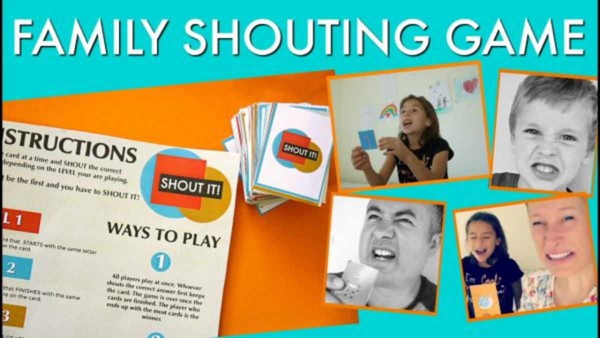 """Text reads """"Family shouting game"""". The images are of printable playing instructions, and shildren holding cards while shouting"""