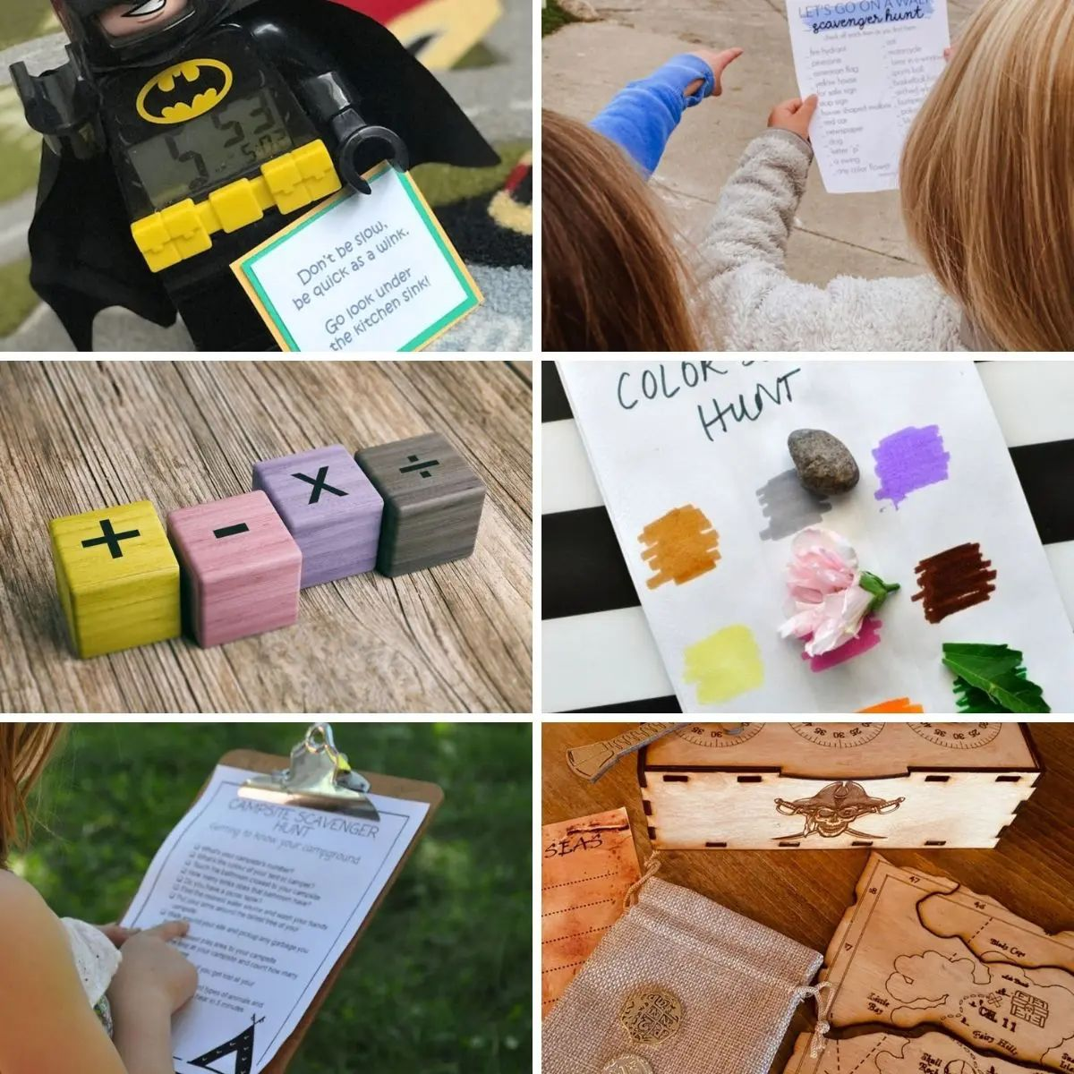 6 photos of different types of scavenger hunt activities.