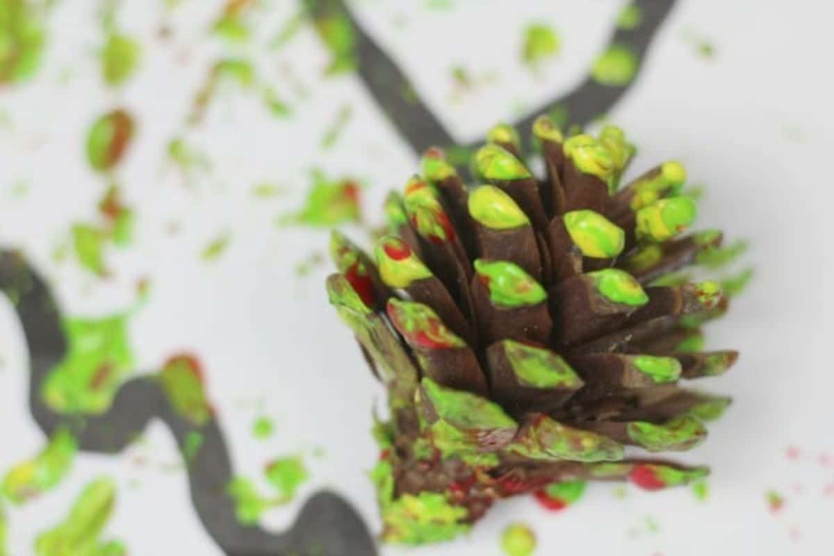 a close up of a pinecone dipped in paint