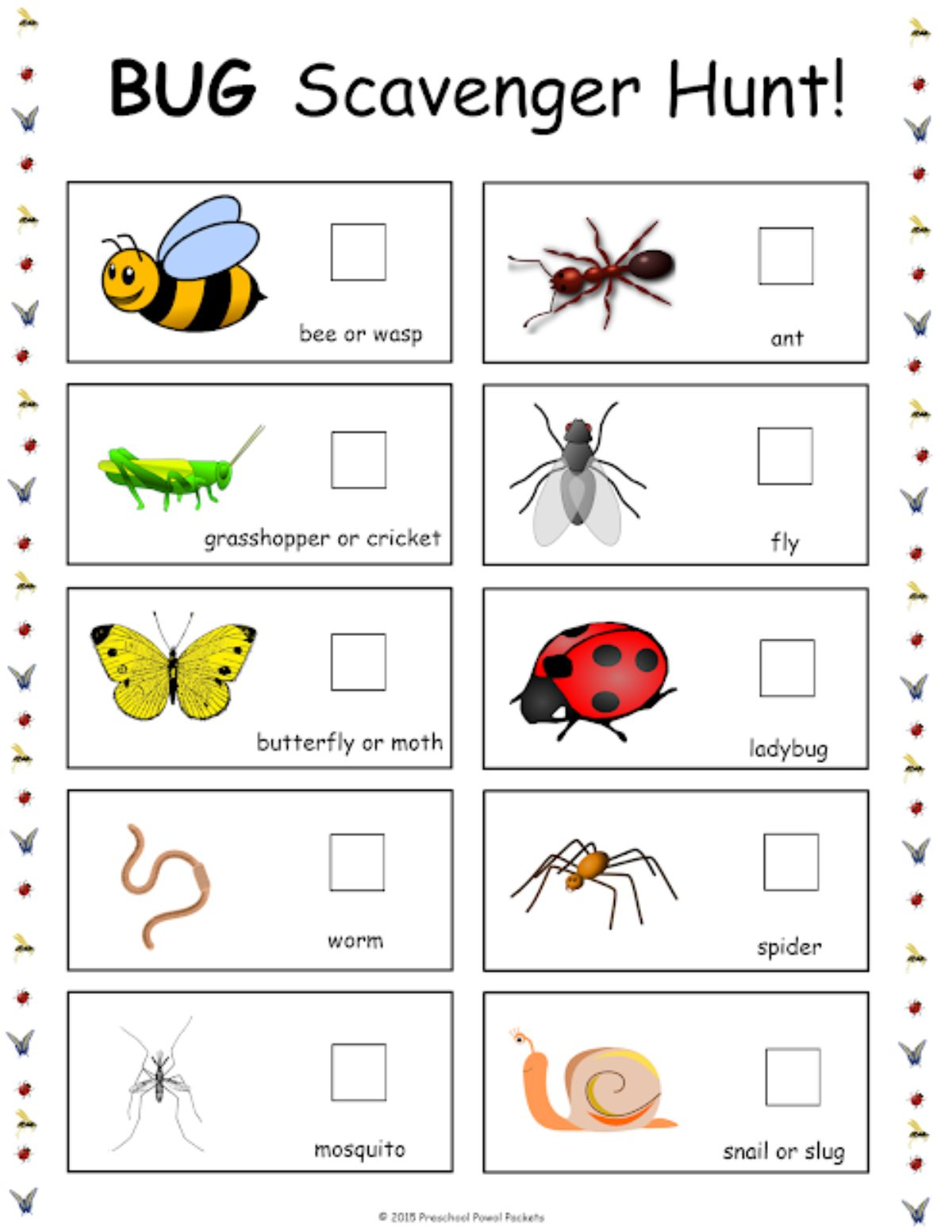 a shot of a bug scavenger hunt sheet. cartoon images of bugs can be seen next to check boxes.