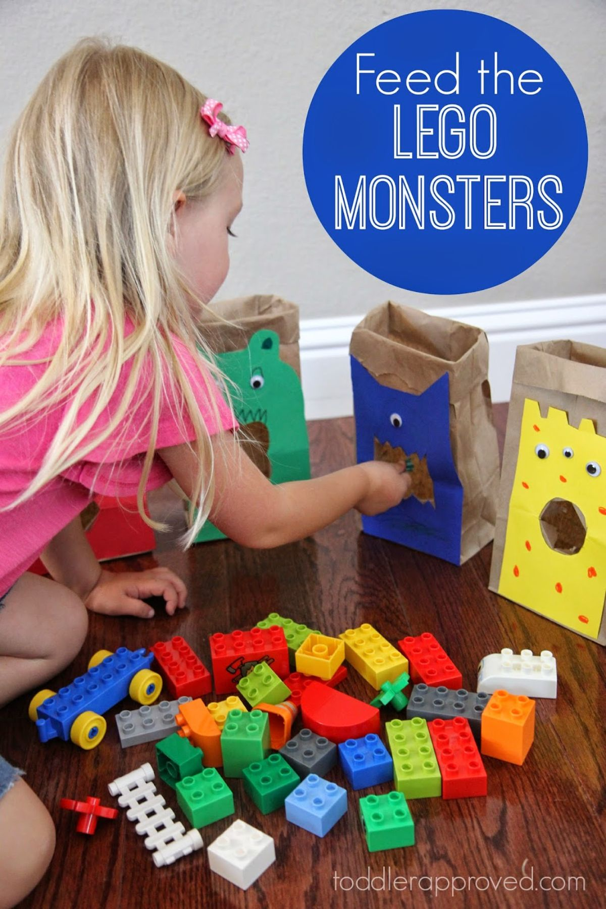 """the text reads """"Feed the LEGO Monsters"""" The image is of a blonde girl feeding lego pieces into paper bags painted to look like monsters"""