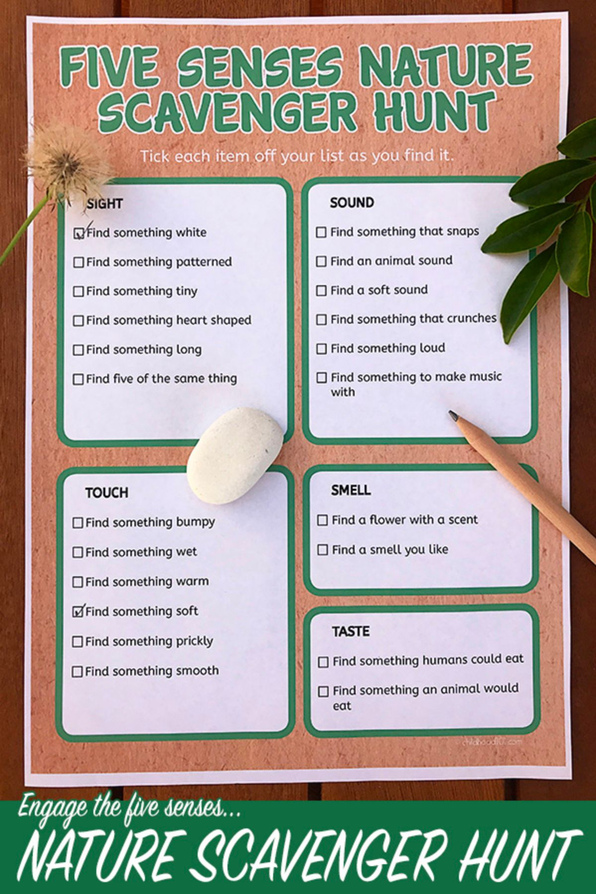 A scavenger hunt sheet with a leaf, stone, pencil and dandelion clock on top of it.