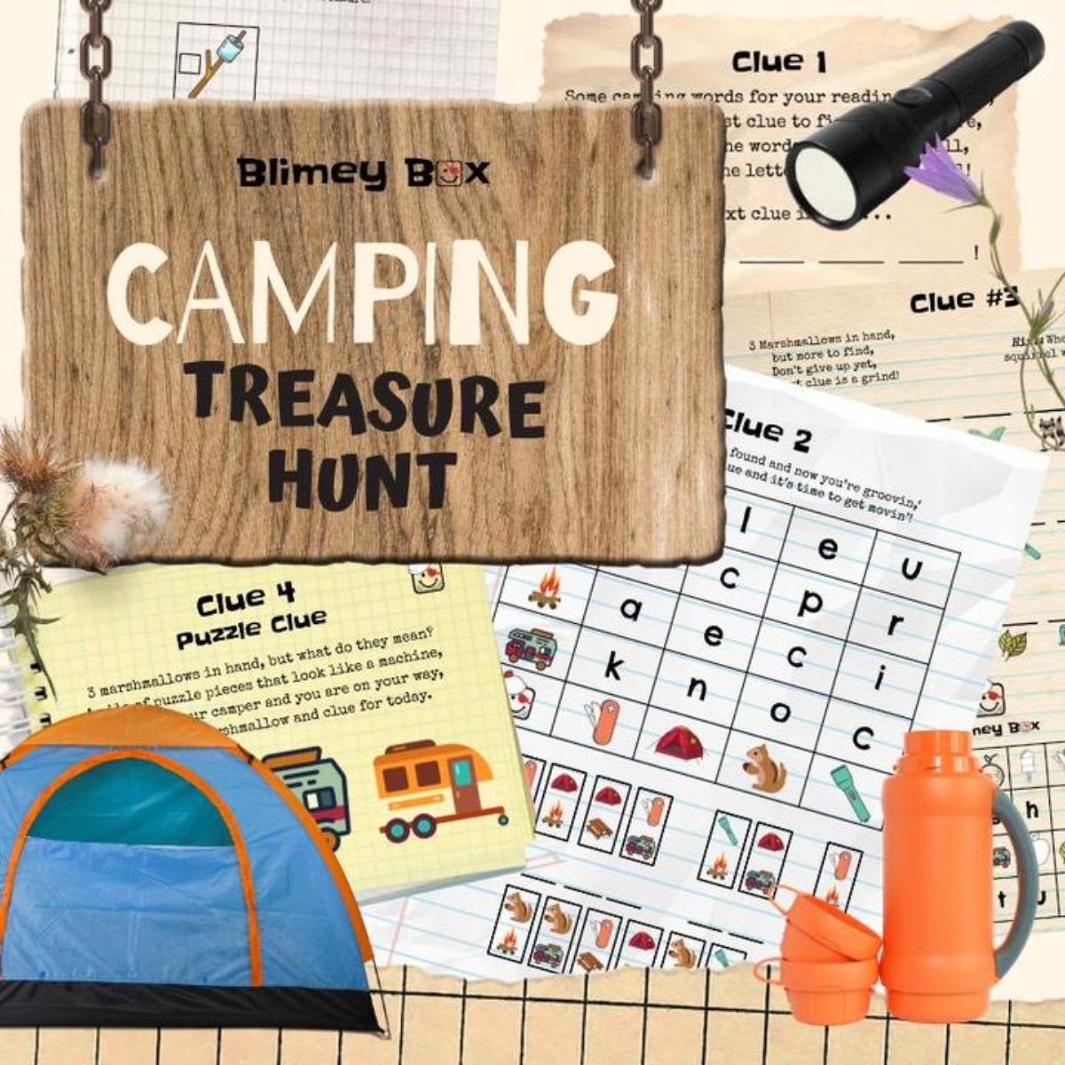 """A collection of printable sheets, a thermos, a tent and a torch. The main text reads """"Blimey Box: Camping trasure hunt"""""""