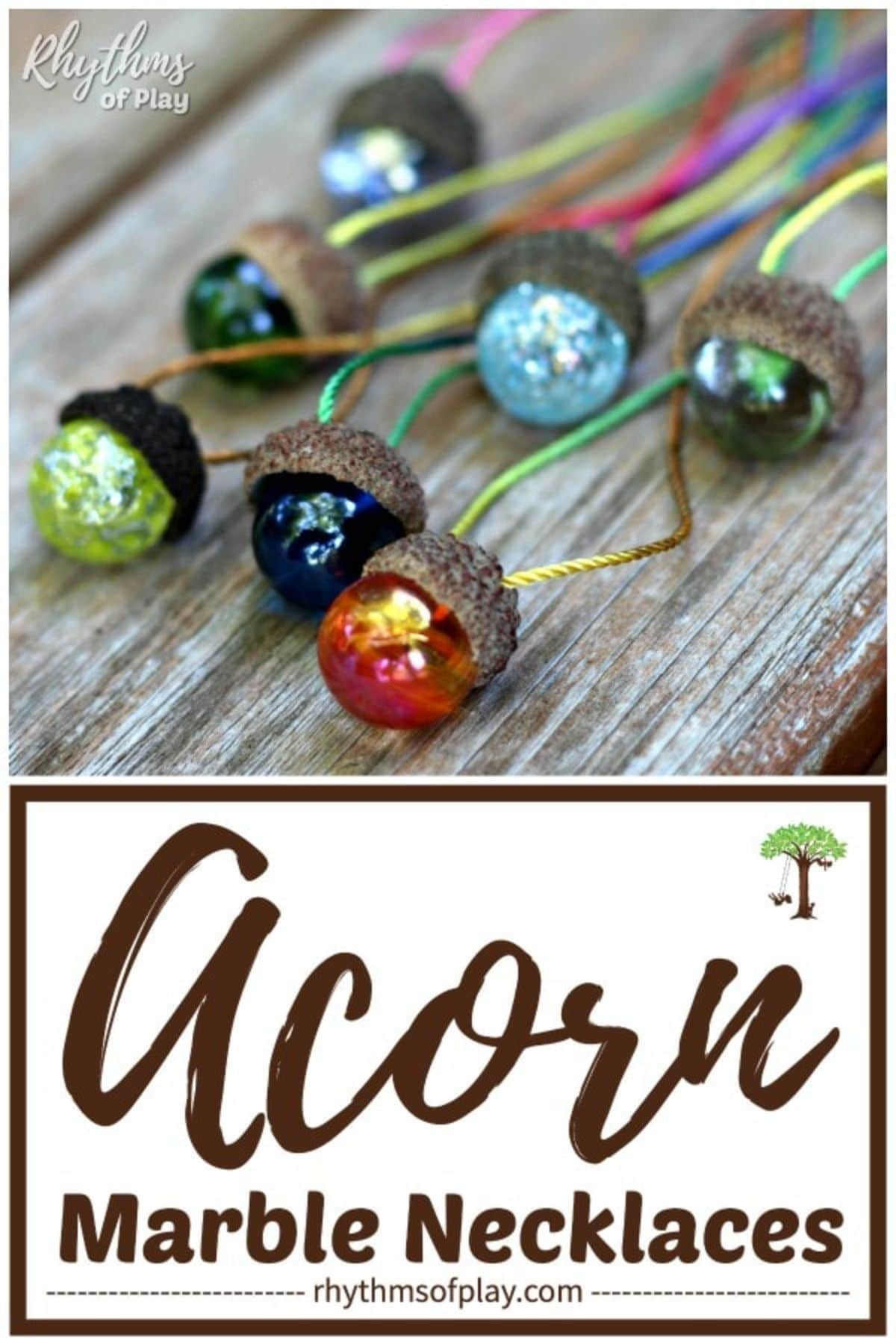 """The text reads """"acorn marble necklaces"""" The image is of 7 coloured acorns atached to cords"""