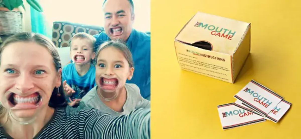a family is wearing mouth guards and looking at the camera next to a box of game cards