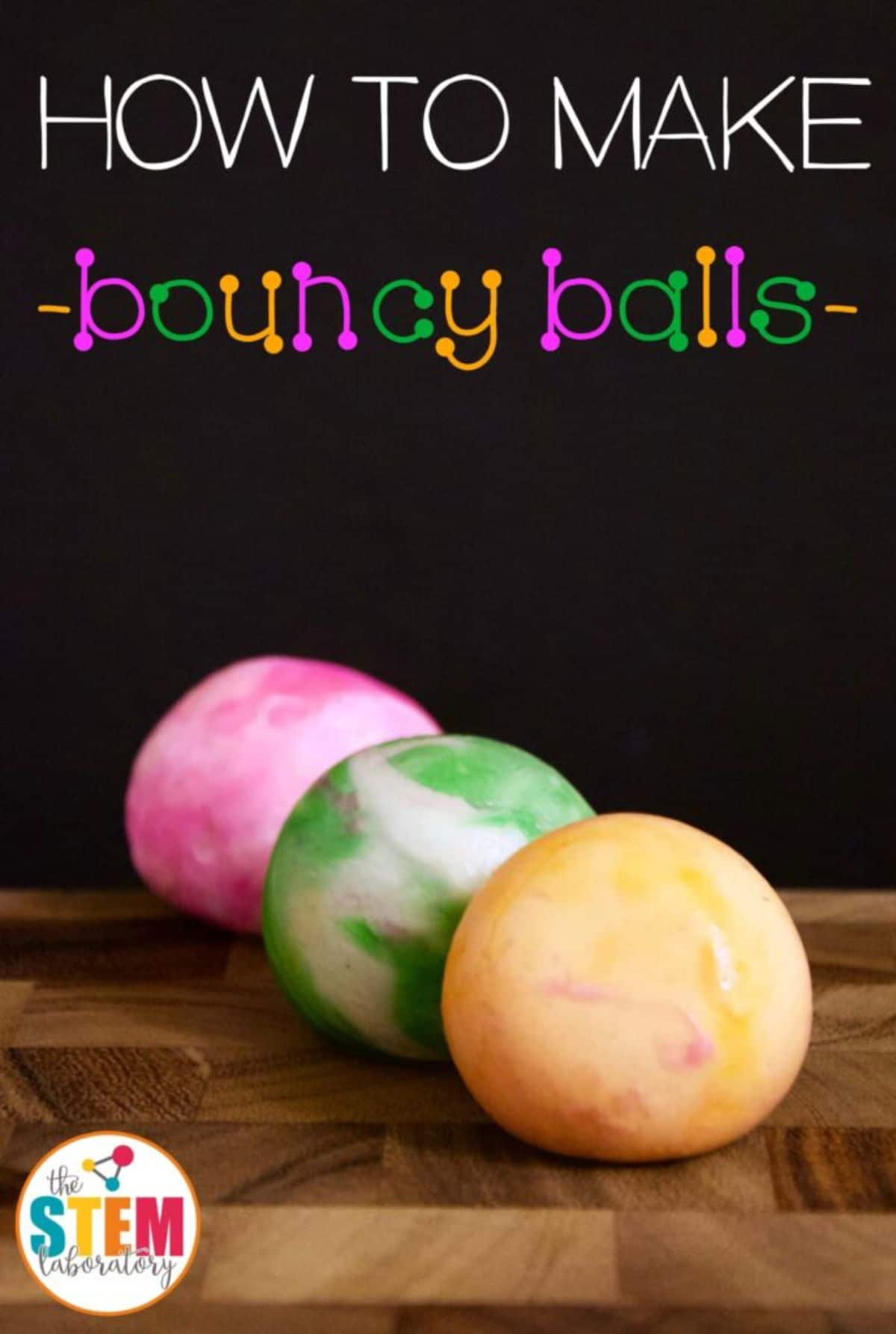 """The text reads """"How to make bouncy balls"""" the image is of one red, one green and one yellow ball"""