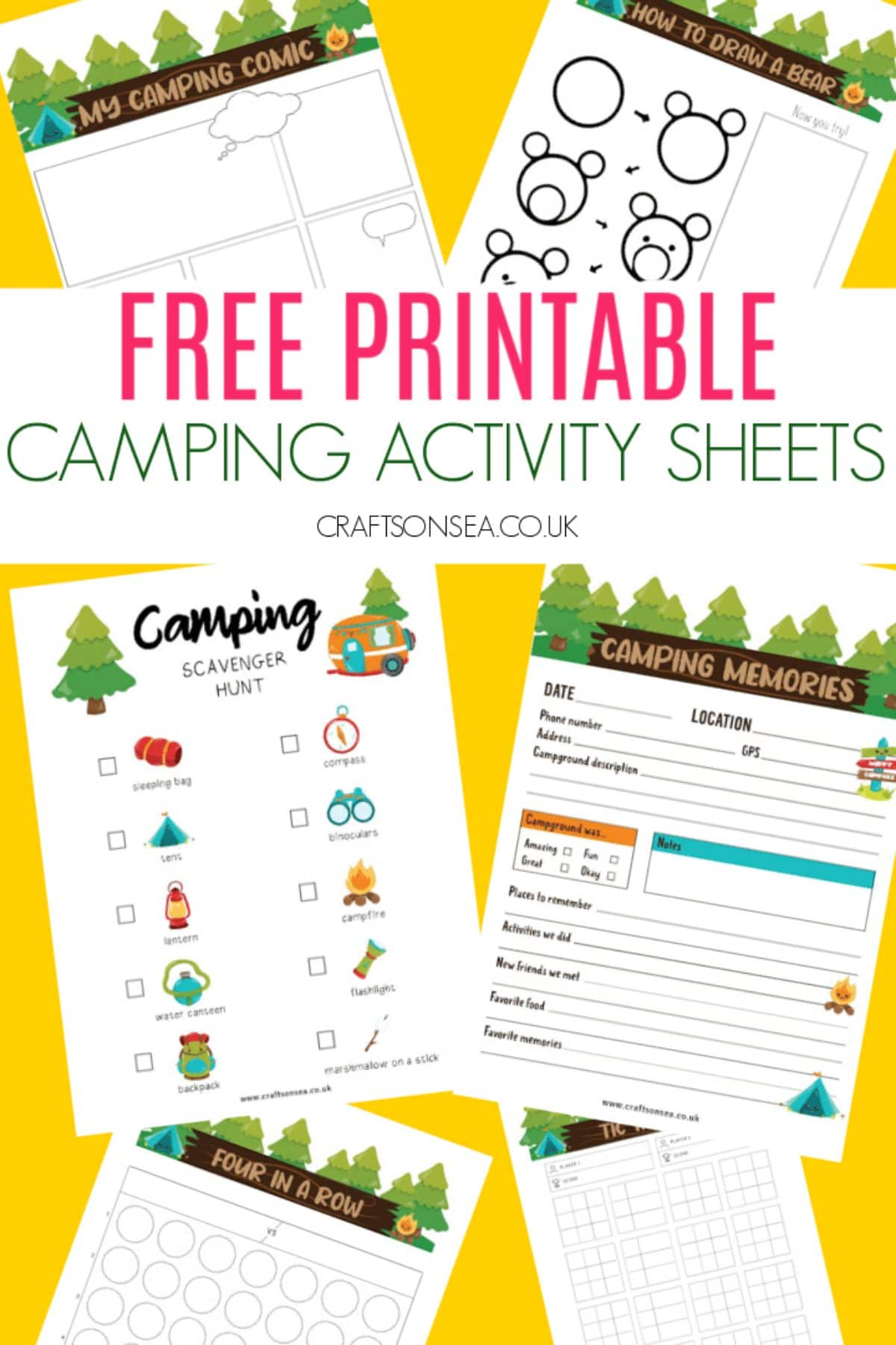 """The text reads """"free printable camping activity sheets"""" the images are of printable activity sheets"""