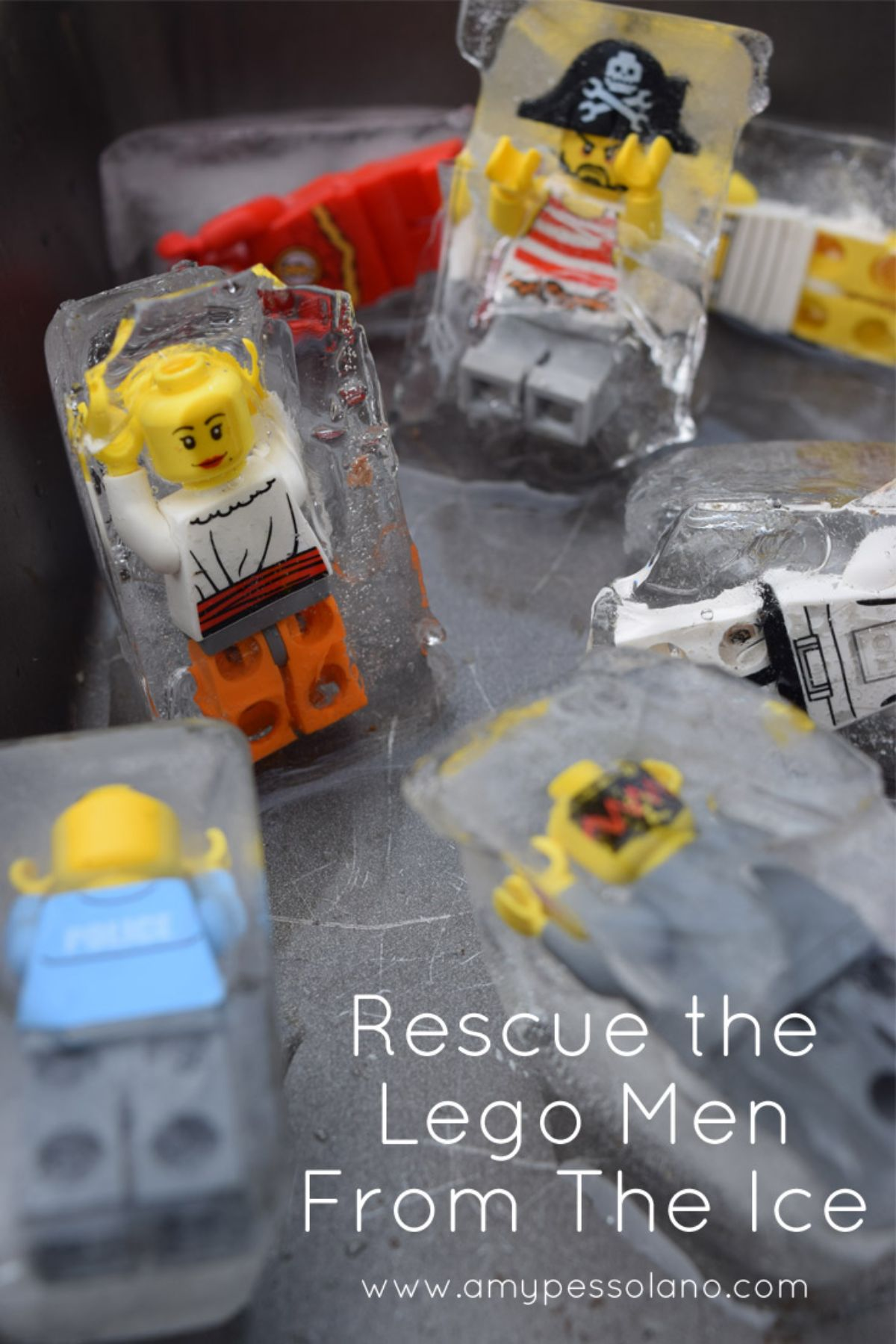 """The text reads """"Rescue the lego men from the ice"""" 7 lego figures are encased in blocks of ice"""