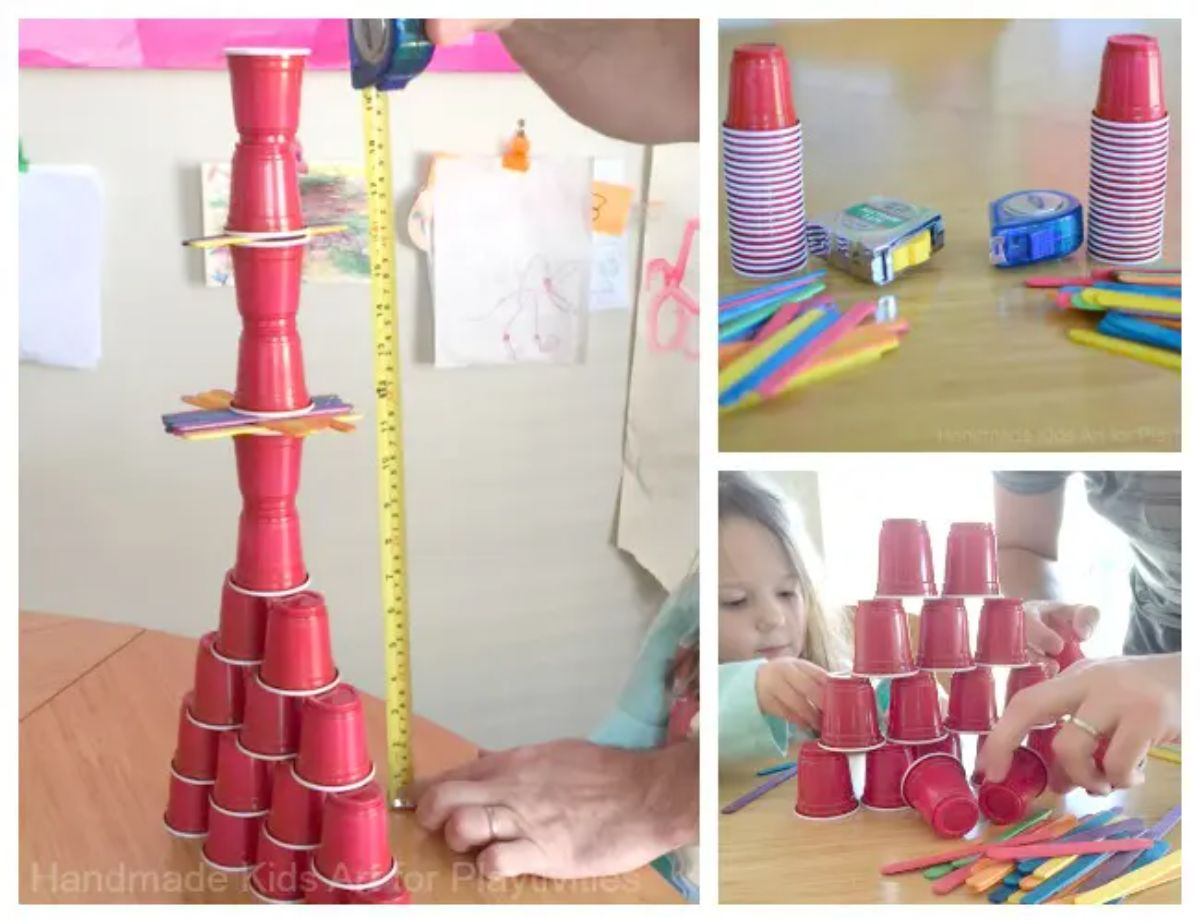 3 photos. The left on is of a tower made of red solo cups .a tape measure is lined up against it. To the right are 1 photo of two stacks of red cups, tape and popsicle sticks. I photo of a pyramid of red cups with a child tryin to stack more