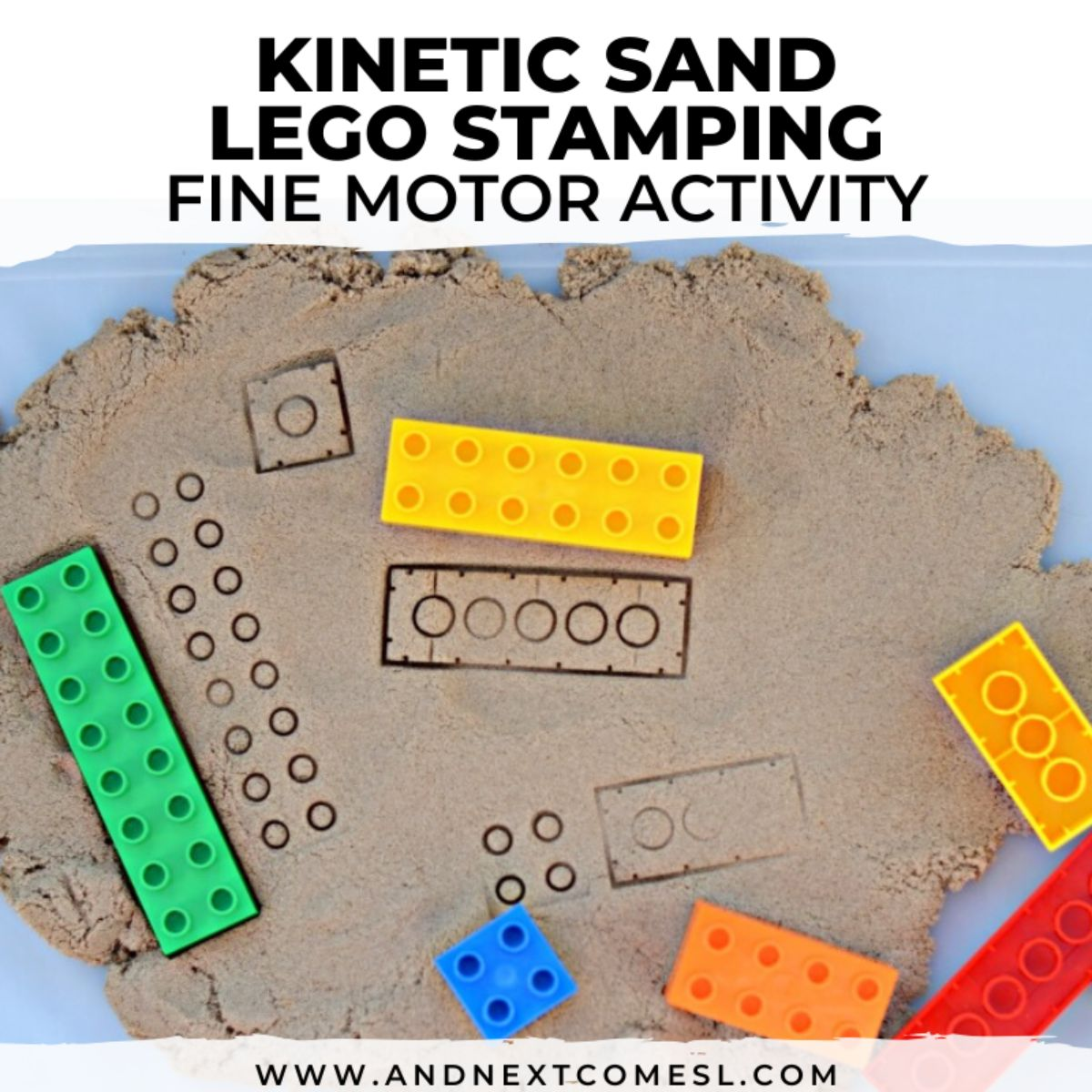 """the text reads """"Kinetic sand lego stamping fine motor activity"""" the image is of sand with lego prints in it. Lego bricks are scattered around"""