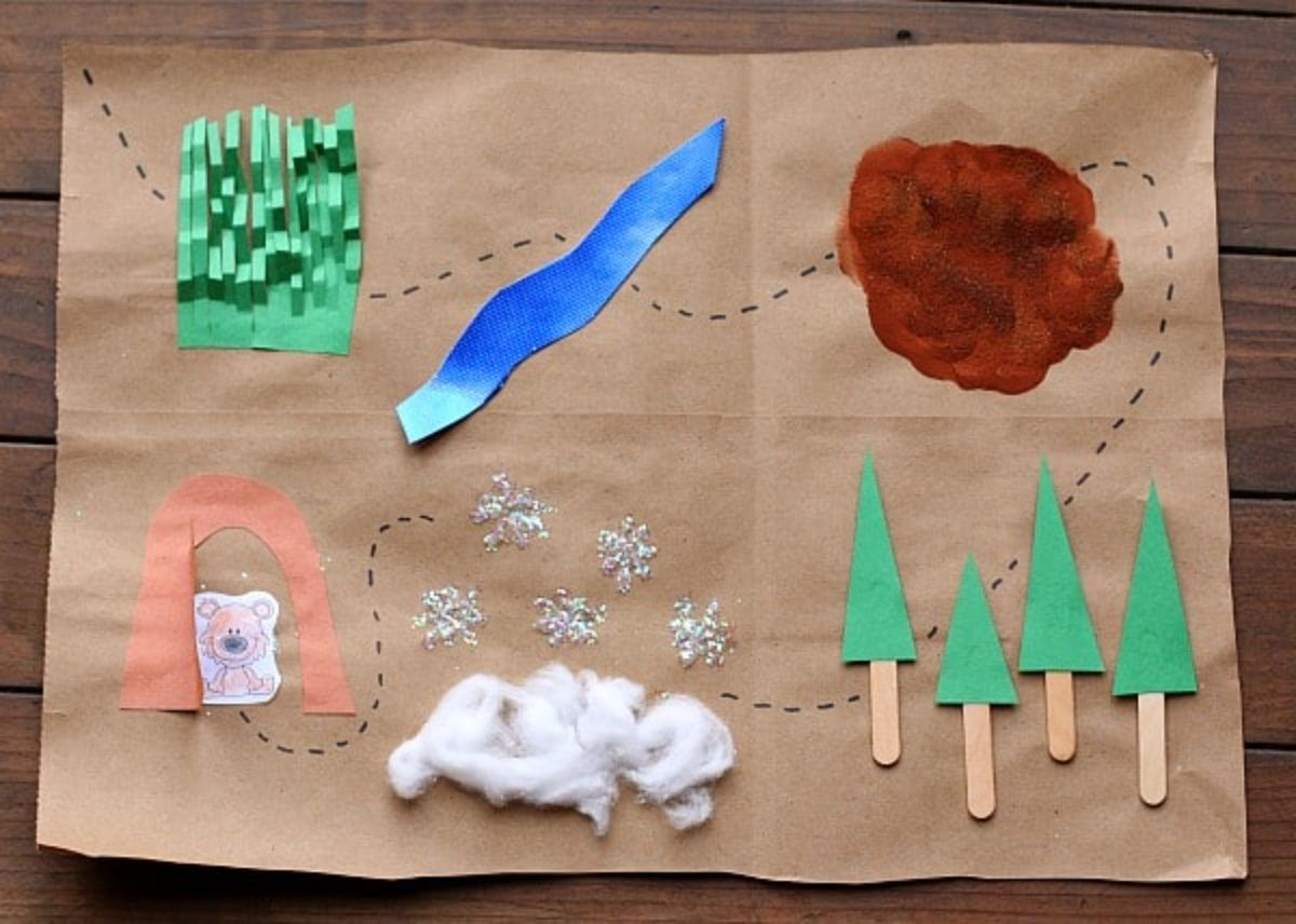 A piece of brown sugar paper has a rudimentary collage map on it. Paper grass, a sliver of blue paper, a brown circle of paint trees made of popsicle sticks and green card, cotton wool and a drawing of a bear in a cave